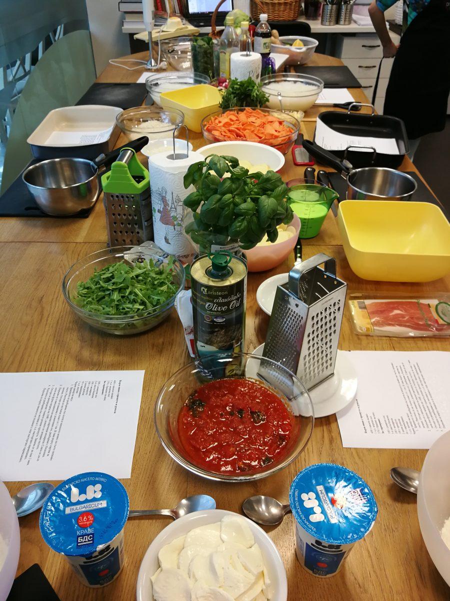Вкусните продукти за Бърза Пица в Кулинарно училище Меню