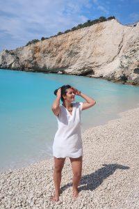 момиче, плаж, вода