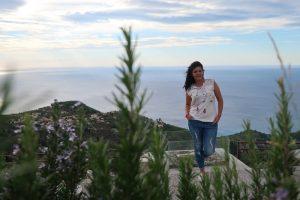 момиче, цветя, море, хоризонт